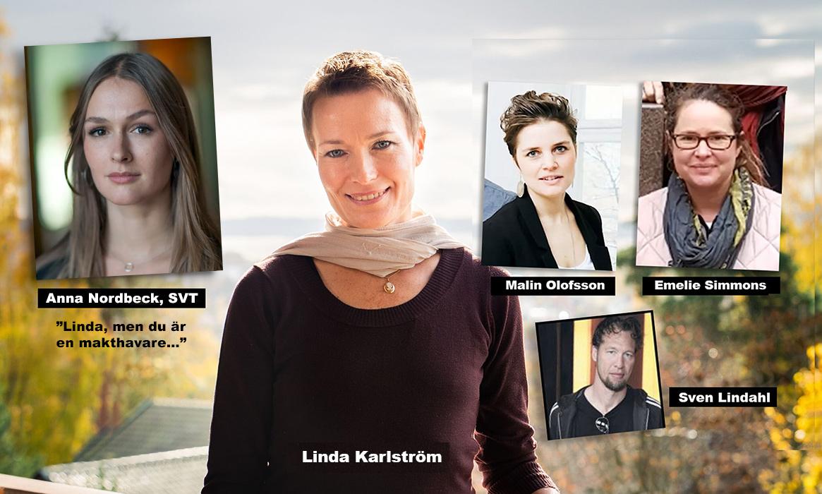 Anna Nordbeck (pressfoto: Magnus Bergström), Linda Karlström, Malin Olofsson (Mattias Ahlm, SR), Emelie Simmons (Ideellt Forum) och Sven Lindahl (pressfoto). Kollage: NewsVoice